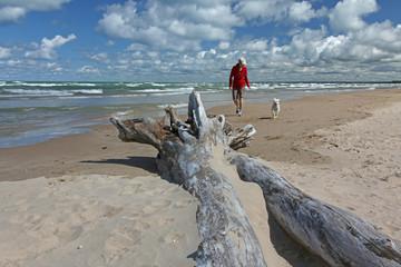 Woman and Dog on Lake Huron Beach