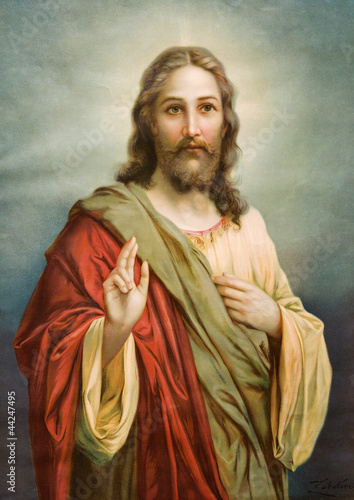 Poster Copy of typical catholic image of Jesus Christ