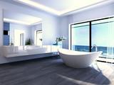 Fototapety Exclusive Luxury Bathroom Interior by the sea | ocean