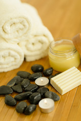 Spa body care products and towels close-up