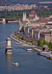 Budapest, view of Parliament, river Danube and Chain Bridge