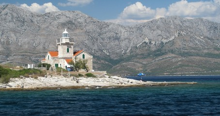 lighthouse on south end of island Hvar in Croatia