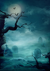 Halloween background - Spooky graveyard