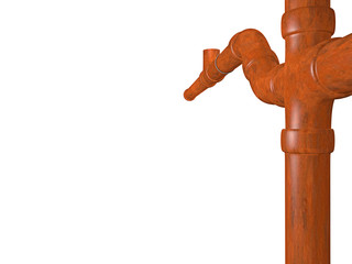 sewage pipe in copper optics on white background - 3D
