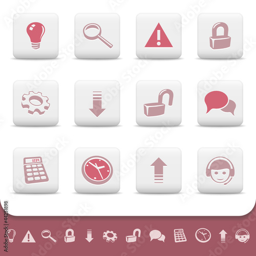 Professional web icons on white buttons. Vector set 2