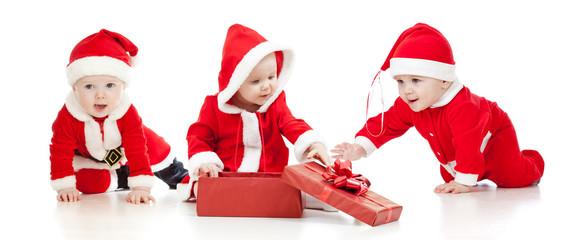christmas Santa Claus babies boys and girl with gift box