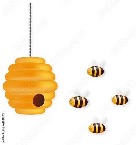 Nette Biene Team und Bienenstock