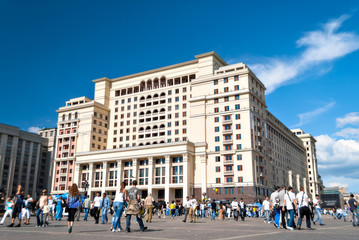 View of the eastern facade of the new Hotel Moskva