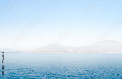 Seascape with mirage in fog, Greece