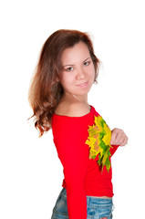 attractive woman with maple leaves