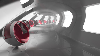 modern futuristic building with seats