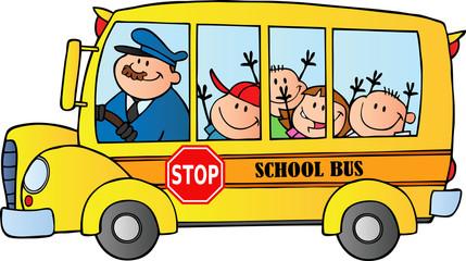 Happy Children On School Bus