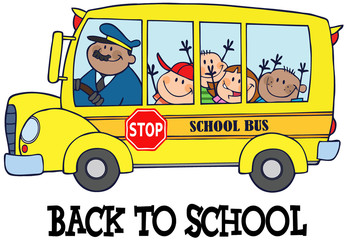 Happy Children On School Bus And Text