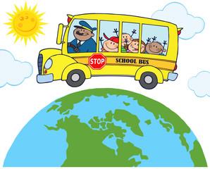 School Bus With Happy Children Around Earth