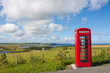 Red phone booth landscape