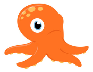 Cute orange Octopus isolated on white