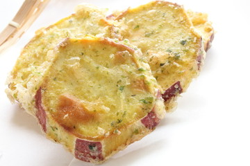 Close up of Autumn food, Sweet potato Tempura