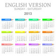 Sunday to saturday 2013 calendar with crayons english version