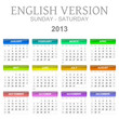 Sunday to saturday 2013 calendar english version illustration