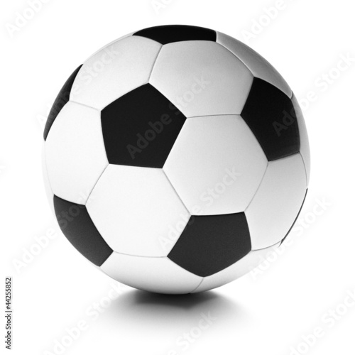 Ballon de foot, balle de football fond blanc. Soccer