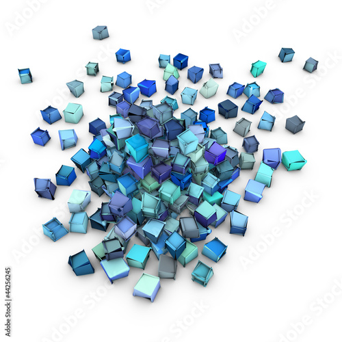 abstract 3d blue cubic shape on white