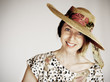 smiling woman with straw hat