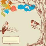 Autumn tree and birds