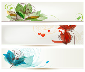 Retro romantic floral banners