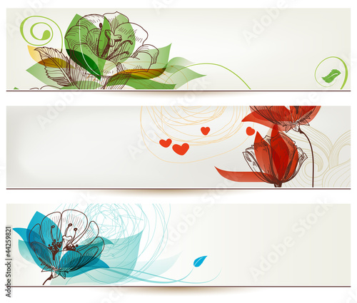 Retro romantic floral banners