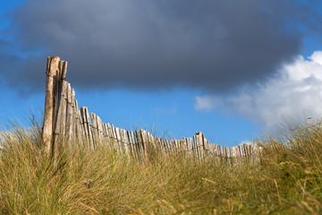 Holzzaun auf einer Düne
