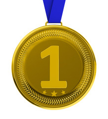 Isolated gold medal with clipping path
