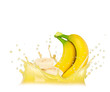 Splash with banana isolated on white