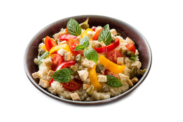 vegetarian couscous with tofu capsicum and mint leaf
