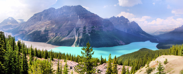 Panoramic view of Peyto Lake, Banff, Canada