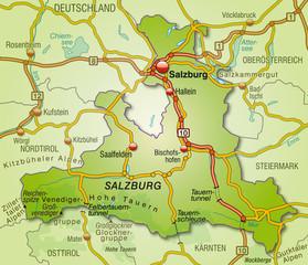 Umgebungskarte vom Kanton Salzburg mit Autobahnen