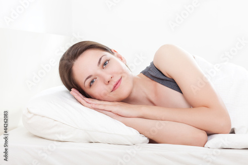 Girl on pillow