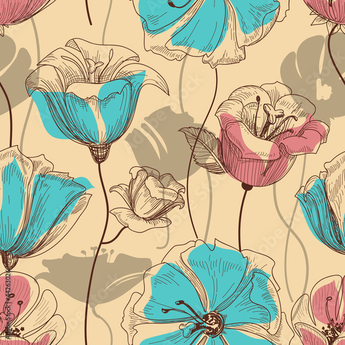 Poster Abstract bloemen Retro floral seamless pattern