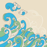 Retro sea waves vector background