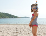 happy girl on vacation whit submarine mask