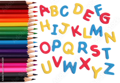 Alphabet letters with pencils