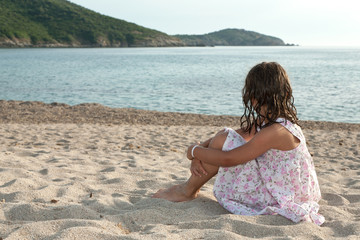 young girl on a sea, relax