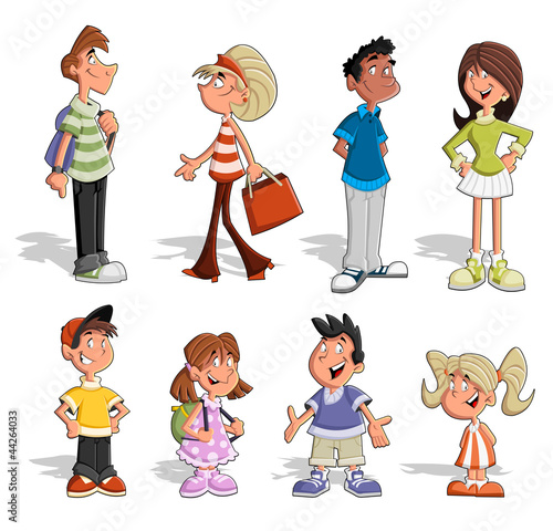 Cute happy cartoon people