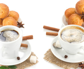 cup of coffee with sweets and beans isolated on white