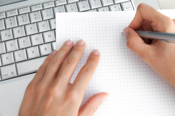 white paper and a keyboard