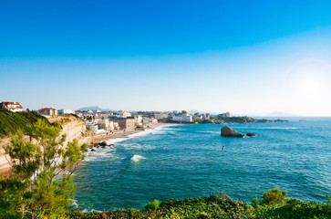 View of Biarritz city center, France.