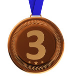 Isolated bronze medal over white with clipping path