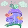 Смешные три улитки сидят на грибе