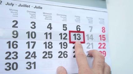 Kalender mit Freitag den 13.