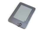silver eReader on white background