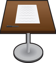 Isolated podium with paper and pen
